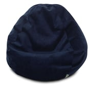 Majestic Home Goods Indoor Villa Polyester Micro-Velvet Small Classic Bean Bag Chair, Navy