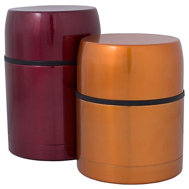 Geo Stainless Steel Vacuum Flasks, Orange & Red, 2/Pack