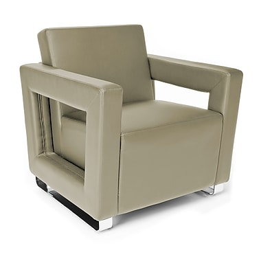 OFM™ Distinct Series Polyurethane Soft Seating Lounge Chair With Chrome Feet, Taupe