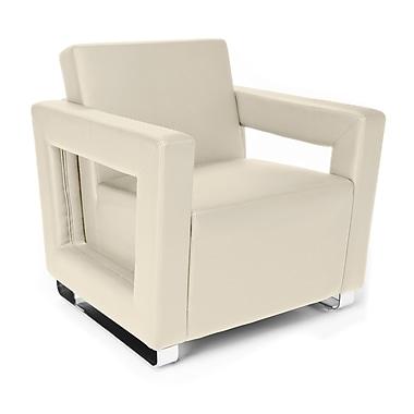 OFM™ Distinct Series Polyurethane Soft Seating Lounge Chair With Chrome Feet, Cream