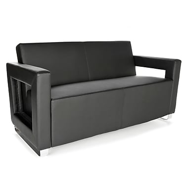 OFM™ Distinct Series PVC-Free Polyurethane Soft Seating Sofa With Chrome Feet, Black