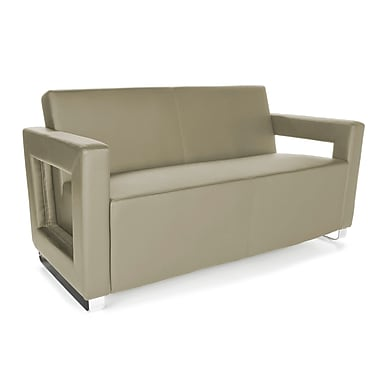 OFM™ Distinct Series PVC-Free Polyurethane Soft Seating Sofa With Chrome Feet, Taupe