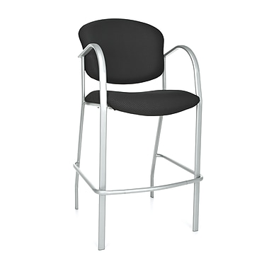 OFM™ Danbelle Series Fabric Cafe Height Chair With Arms, Ebony