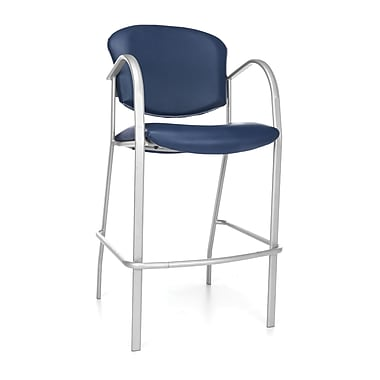 OFM™ Danbelle Series Anti-Bacterial Vinyl Cafe Height Chair With Arms, Navy