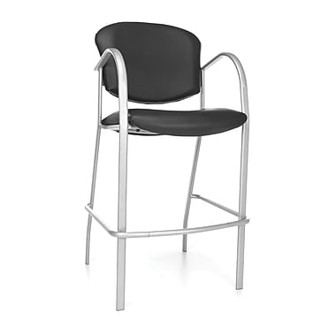 OFM™ Danbelle Series Anti-Bacterial Vinyl Cafe Height Chair With Arms, Black