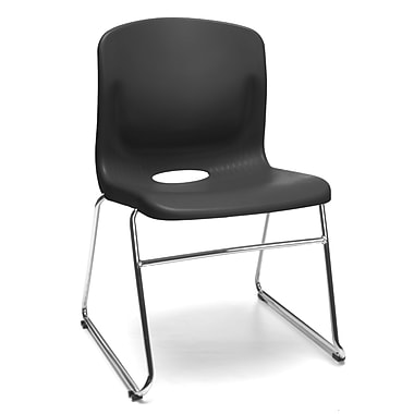 OFM™ Polypropylene Sled Base Stack Chair With Lumbar Support, Black
