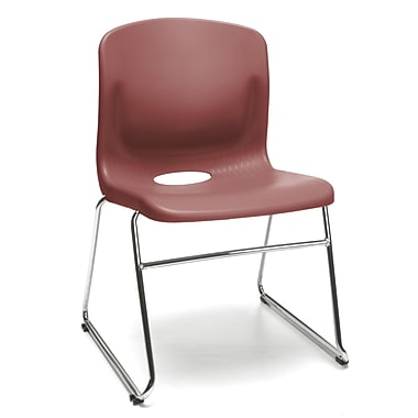 OFM™ Polypropylene Sled Base Stack Chair With Lumbar Support, Wine