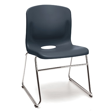 OFM™ Polypropylene Sled Base Stack Chair With Lumbar Support, Navy