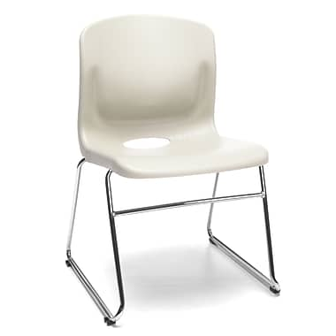 OFM™ Polypropylene Sled Base Stack Chair With Lumbar Support, Ivory