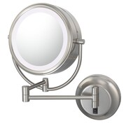 Kimball & Young Kimball & Young NeoModern LED Lighted Hardwire Wall Mirror; Brushed Nickel