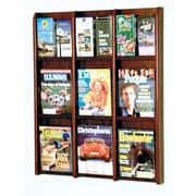 Wooden Mallet 9 Magazine / 18 Brochure Wall Display; Dark Red Mahogany