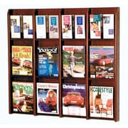 Wooden Mallet 12 Magazine / 24 Brochure Wall Display; Dark Red Mahogany