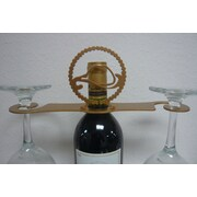 Metrotex Designs Laser Cut Cowboy Hat/Lasso 2-Stem Bottle Topper; Gold