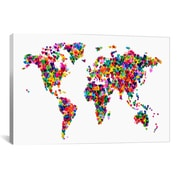 iCanvas 'World Map Hearts' by Michael Tompsett Graphic Art on Canvas; 8'' H x 12'' W x 0.75'' D