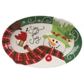 Fitz and Floyd Holly Hat Snowman Sentiment Oval Serving Tray