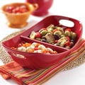 Rachael Ray Stoneware Divided Serving Dish; Red