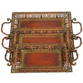 UMA Enterprises 3 Piece Toscana Chic Metal Serving Tray Set