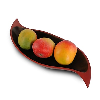 Enrico Curry Leaf Platter; Brick Red / Dark Brown