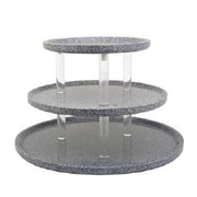 Buffet Enhancements Chefstone Triple Tier Serving Tray Riser Tiered Stand; Grey Granite