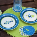 Cypress Simple Swimmers Ceramic Round Dessert Plate (Set of 4)