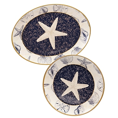 Certified International Coastal Moonlight 2 Piece Melamine Platter Set
