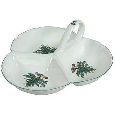 Nikko Ceramics Xmas Dinnerware Three Section Divided Serving Dish