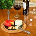 Picnic At Ascot Provence Glass Dome Bamboo and Slate Cheese Set