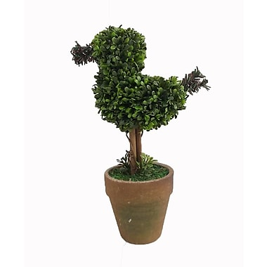 Craft Outlet Floral Bird Topiary in Pot (Set of 2)