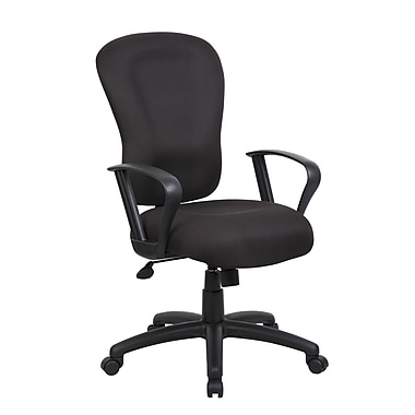 Boss Office Products High-Back Task Chair; Fixed Height Loop Arms
