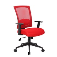 Boss Office Products High-Back Mesh Task Chair with Arms; Red