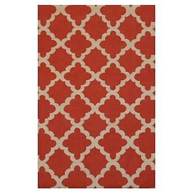 Meva Rugs Flat Weave Pop Red Area Rug; 8' x 11'
