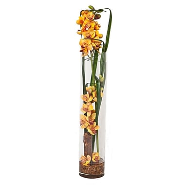 Creative Branch Faux Gold Orchids in Glass Vase