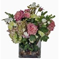 Creative Branch Faux Pink Flowers and Succulents in Glass Vase