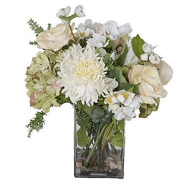 Creative Branch Faux White Flowers and Succulents in Glass Vase