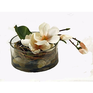Creative Branch Faux Magnolia in Glass Vase