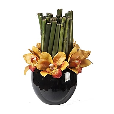 Creative Branch Faux Orchid Blooms and River Cane in Vase