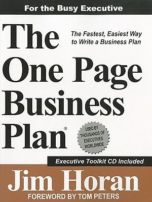 """""One-Page Business Plan Company """"""""The One-Page Business Plan"""""""" Book"""""" 1185723"