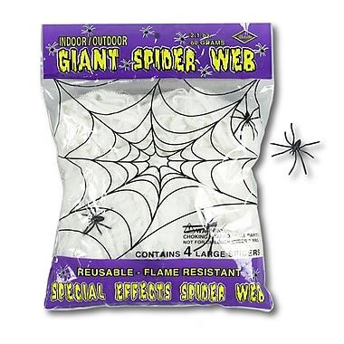 Sac de toile d'araignée géant ignifuge, contenant 2,1 onces et des araignées de 2 po, blanc, paq./5