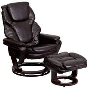 Flash Furniture Leather Recliner And Ottoman With Swiveling Mahogany Wood Base, Brown