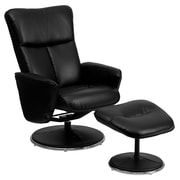 Flash Furniture Leather Recliner And Ottoman With Circular Wrapped Base, Black