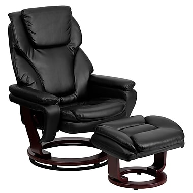 Flash Furniture Leather Recliner And Ottoman With Swiveling Mahogany Wood Base, Black