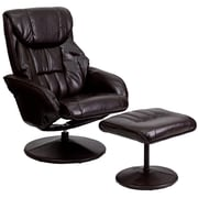Flash Furniture Leather Recliner And Ottoman With Circular Leather Wrapped Base, Brown