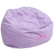 Flash Furniture Cotton Twill Embroidered Oversized Dot Bean Bag Chair, Lavender