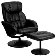 Flash Furniture Leather Recliner And Ottoman With Circular Leather Wrapped Base, Black