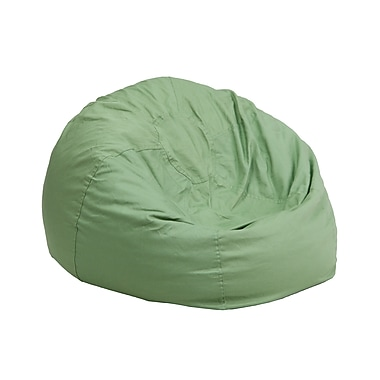 Flash Furniture Cotton Twill Small Solid Kids Bean Bag Chair, Green
