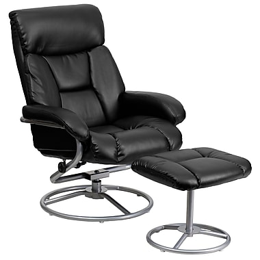 Flash Furniture Leather Recliner And Ottoman With Metal Base, Black