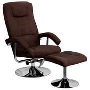 Flash Furniture Microfiber Recliner and Ottoman With Chrome Base, Brown