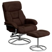 Flash Furniture Microfiber Recliner and Ottoman With Metal Base, Brown