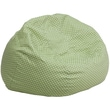 Flash Furniture Cotton Twill Oversized Dot Bean Bag Chair, Green