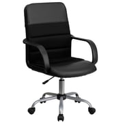 Flash Furniture LFW61B2 LeatherSoft Mid-Back Task Chair with Fixed Arms, Black